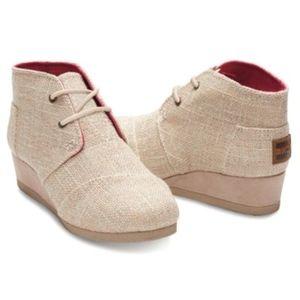 Toms Shoes - Toms Metallic Linen Burlap Desert Bootie